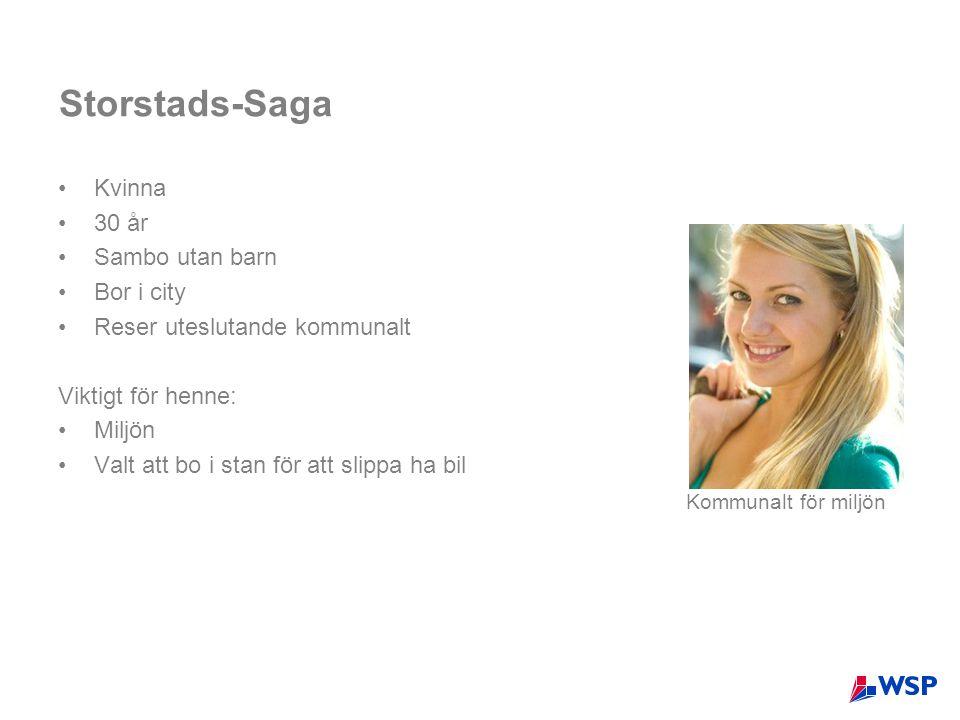 Storstads-Saga Kvinna 30 år Sambo utan barn Bor i city