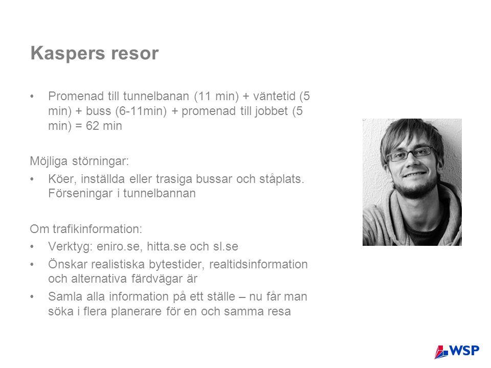 Kaspers resor Promenad till tunnelbanan (11 min) + väntetid (5 min) + buss (6-11min) + promenad till jobbet (5 min) = 62 min.