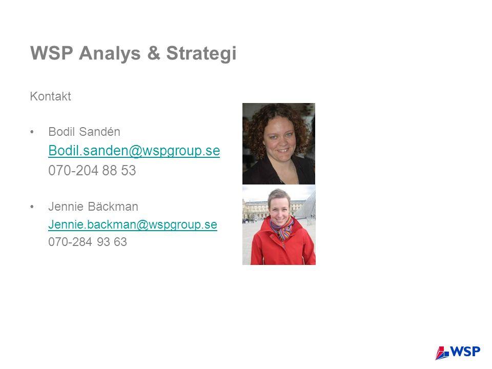 WSP Analys & Strategi Bodil.sanden@wspgroup.se 070-204 88 53 Kontakt