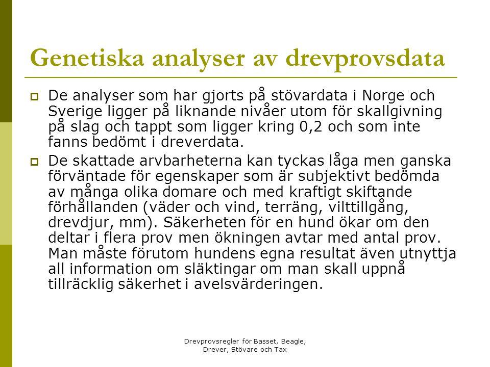 Genetiska analyser av drevprovsdata