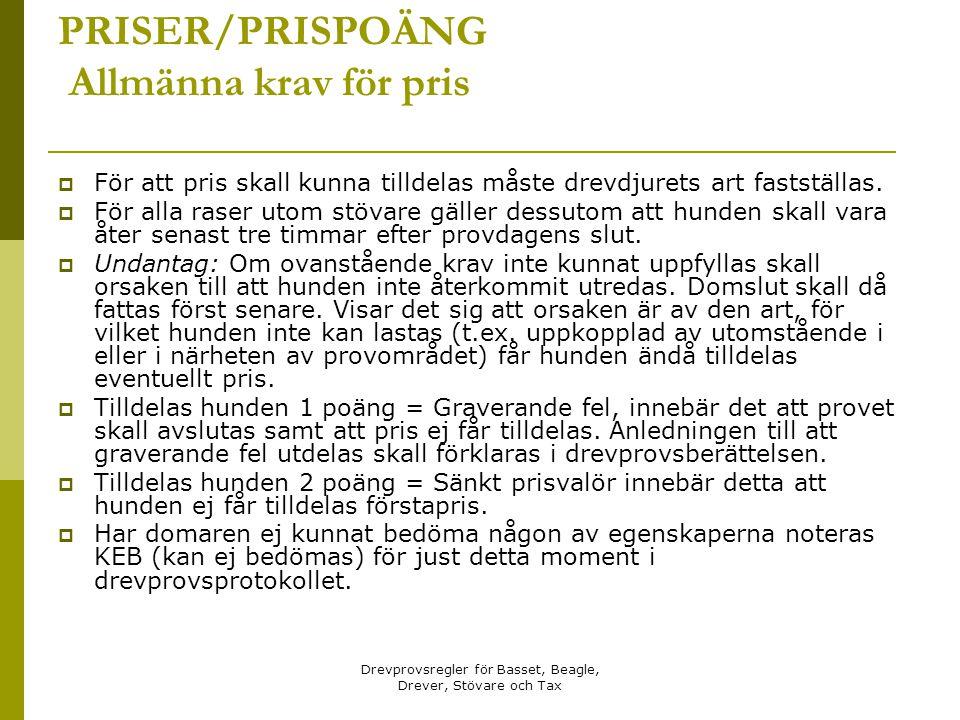 PRISER/PRISPOÄNG Allmänna krav för pris