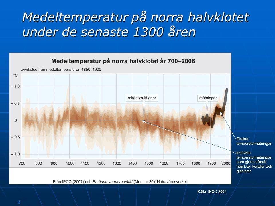 Medeltemperatur på norra halvklotet under de senaste 1300 åren