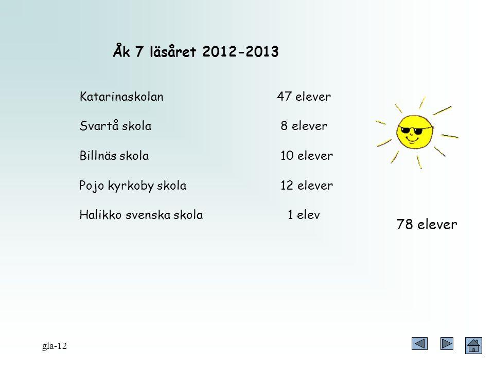 Åk 7 läsåret 2012-2013 78 elever Katarinaskolan 47 elever