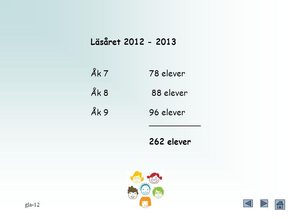 Läsåret 2012 - 2013 Åk 7 78 elever Åk 8 88 elever Åk 9 96 elever