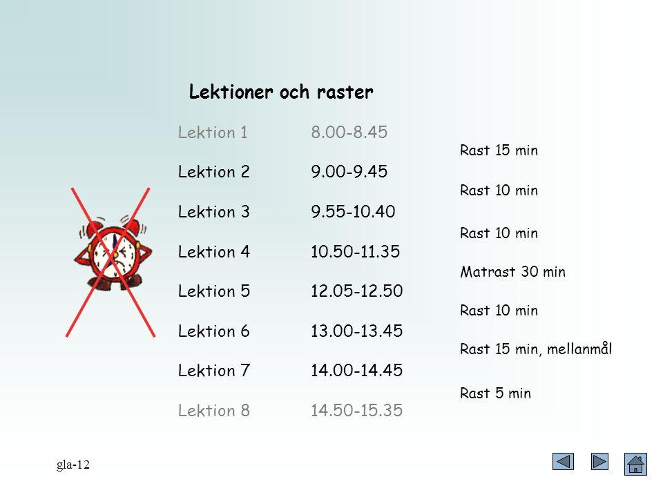 Lektioner och raster Lektion 1 8.00-8.45 Lektion 2 9.00-9.45