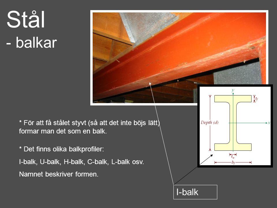 Stål - balkar. * För att få stålet styvt (så att det inte böjs lätt) formar man det som en balk. * Det finns olika balkprofiler: