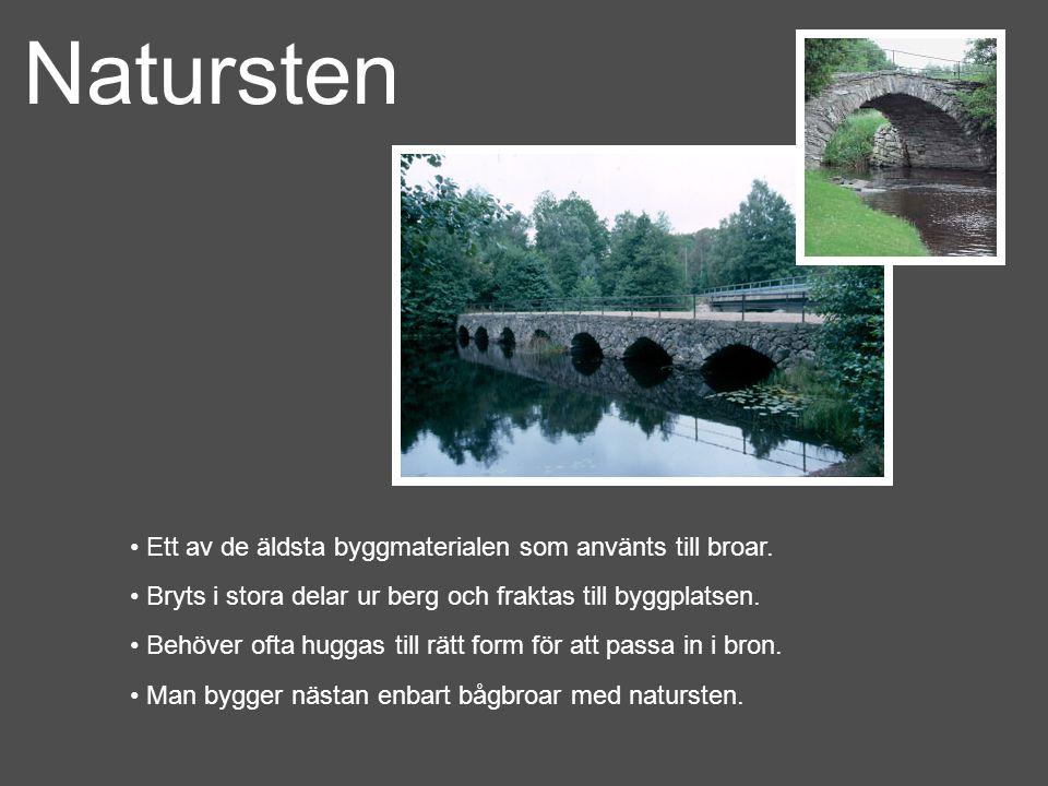Natursten Ett av de äldsta byggmaterialen som använts till broar.