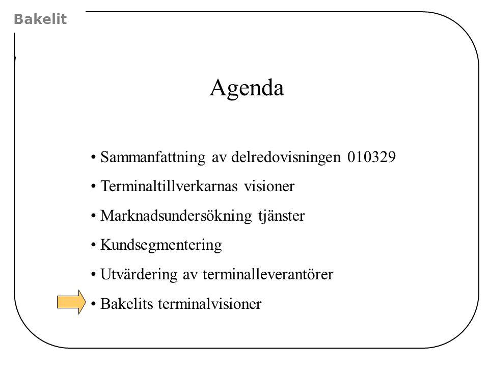Agenda Sammanfattning av delredovisningen 010329