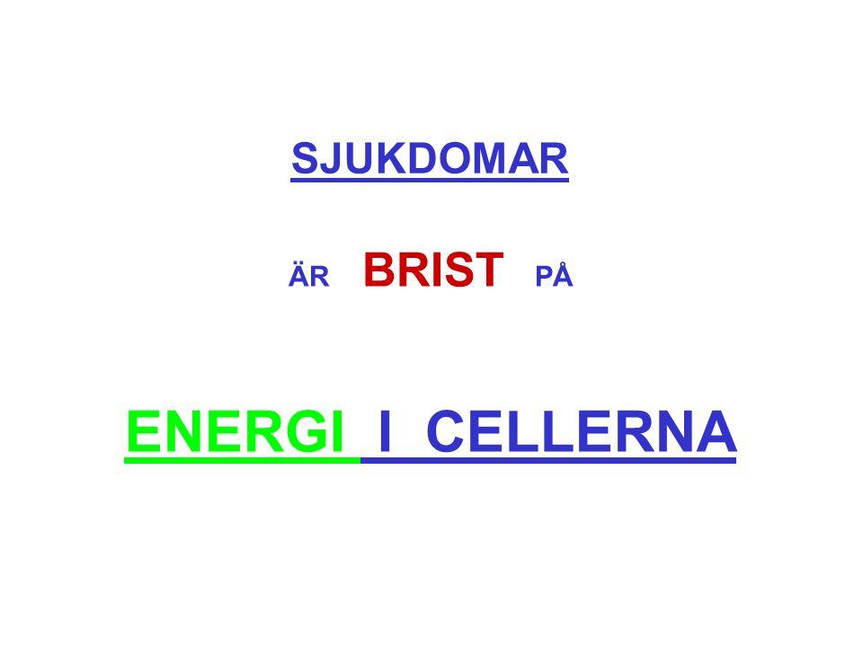 SJUKDOMAR ÄR BRIST PÅ ENERGI I CELLERNA