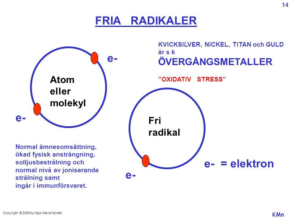 FRIA RADIKALER e- e- e- = elektron e- Atom eller molekyl Fri radikal