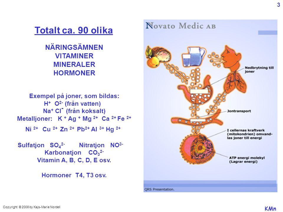 Totalt ca. 90 olika NÄRINGSÄMNEN VITAMINER MINERALER HORMONER