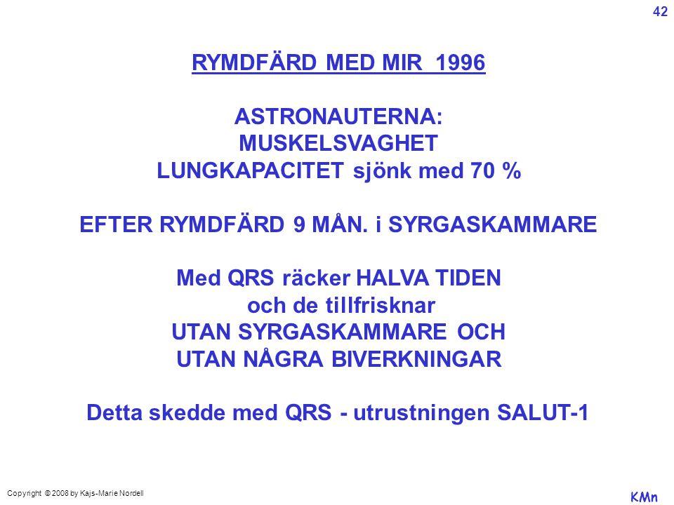 LUNGKAPACITET sjönk med 70 % EFTER RYMDFÄRD 9 MÅN. i SYRGASKAMMARE