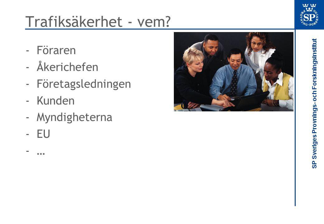 Trafiksäkerhet - vem Föraren Åkerichefen Företagsledningen Kunden