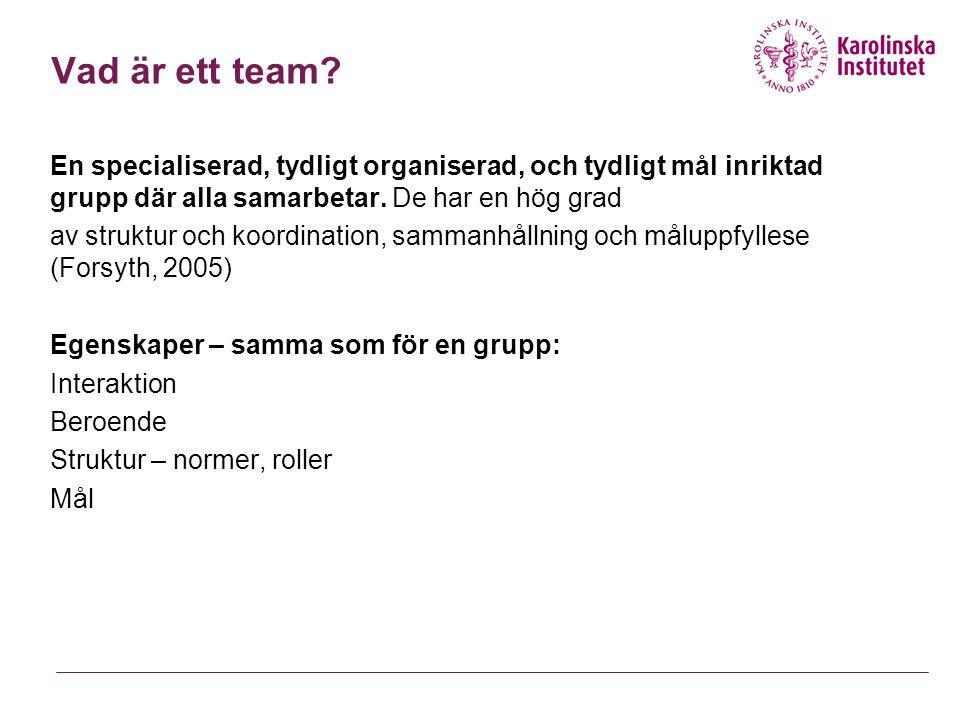 Vad är ett team En specialiserad, tydligt organiserad, och tydligt mål inriktad grupp där alla samarbetar. De har en hög grad.
