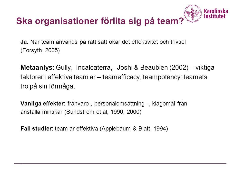 Ska organisationer förlita sig på team