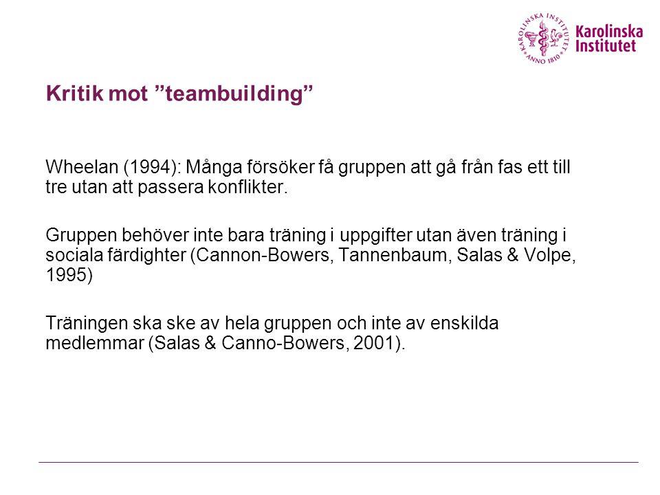 Kritik mot teambuilding