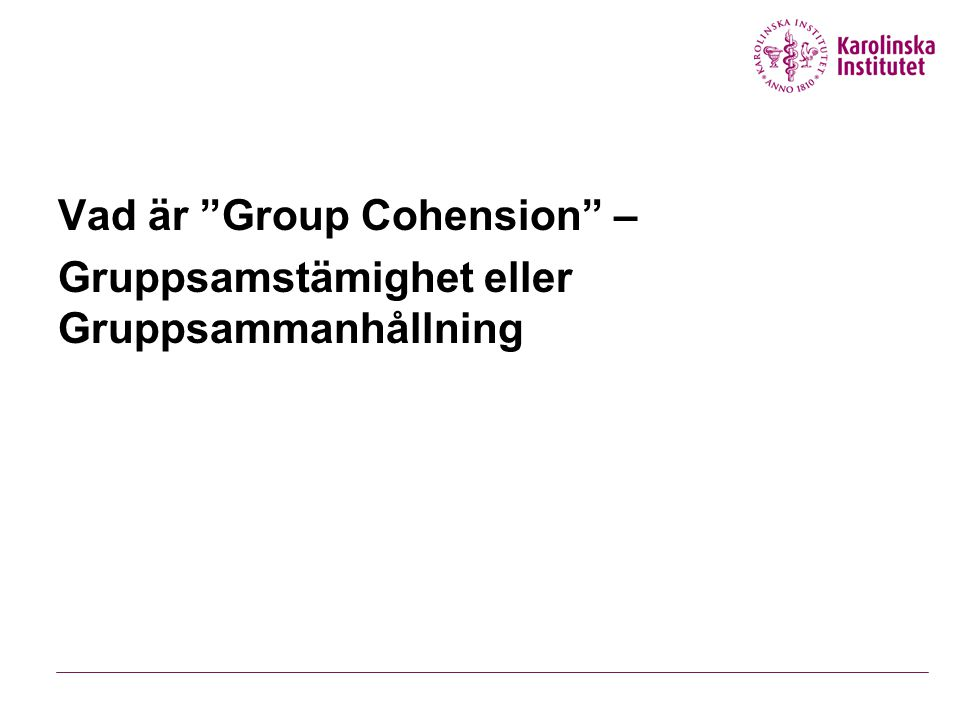 Vad är Group Cohension –