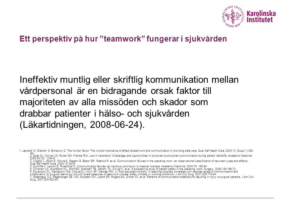 Ett perspektiv på hur teamwork fungerar i sjukvården