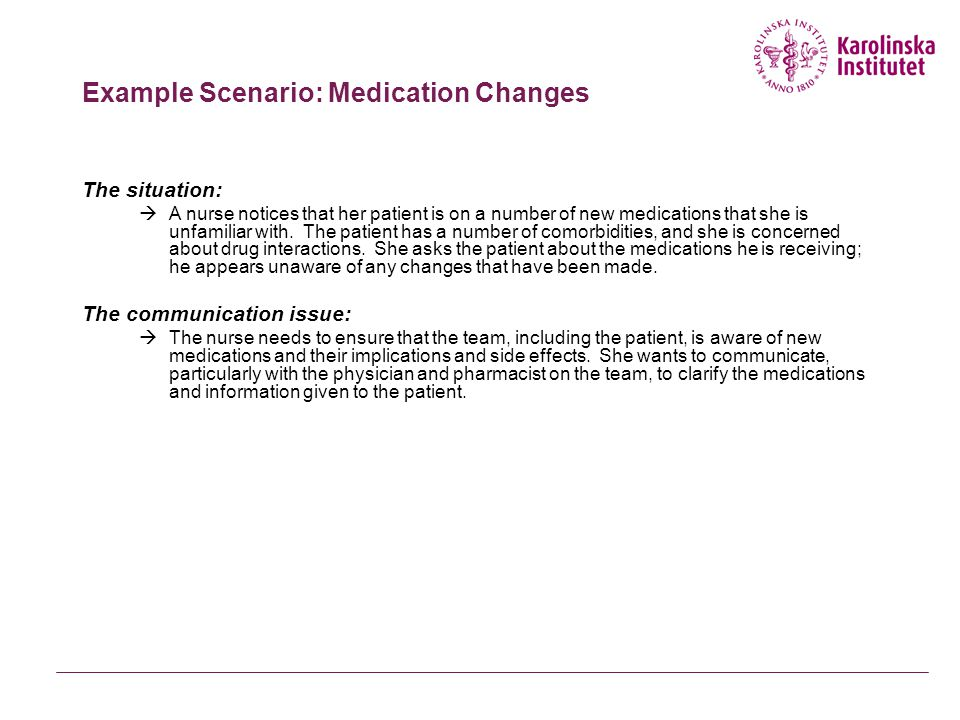 Example Scenario: Medication Changes