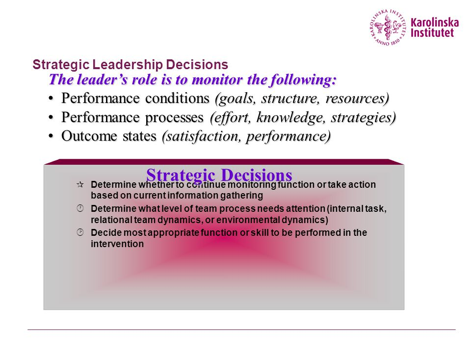 Strategic Leadership Decisions