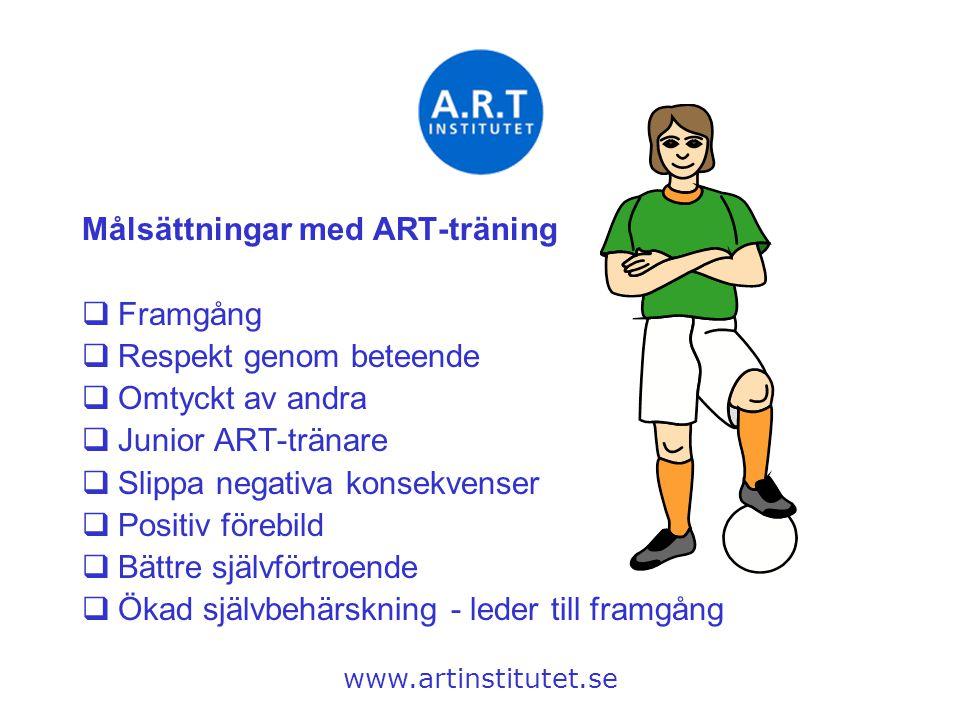 Målsättningar med ART-träning Framgång Respekt genom beteende
