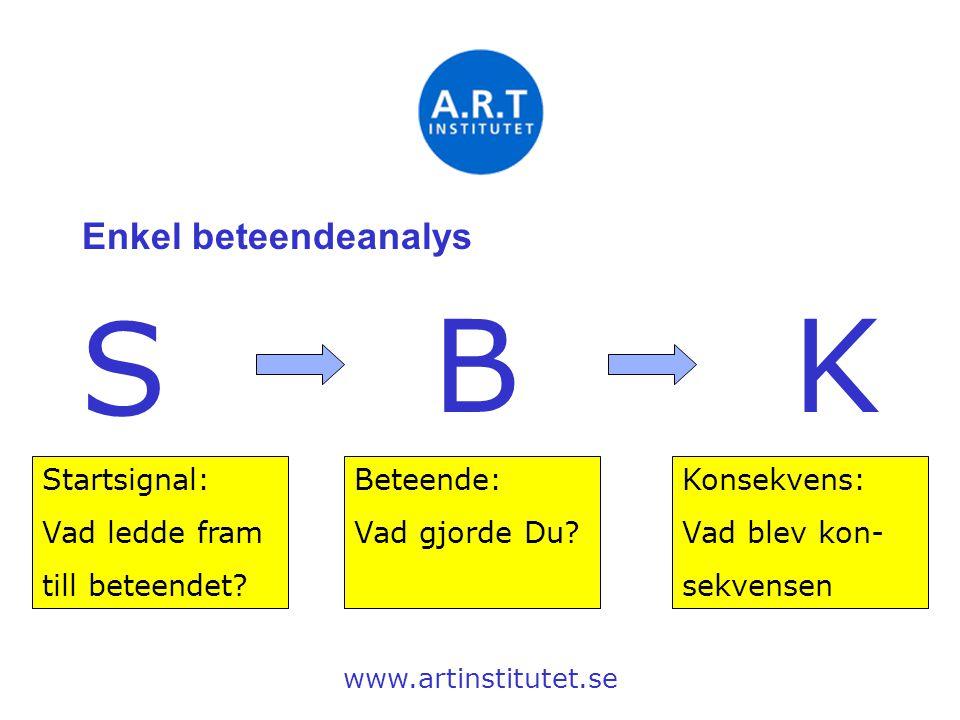 S B K Enkel beteendeanalys Startsignal: Vad ledde fram till beteendet