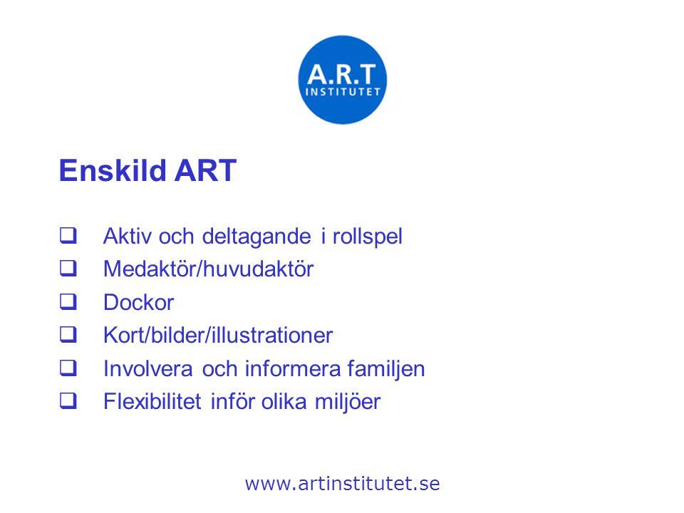 Enskild ART Aktiv och deltagande i rollspel Medaktör/huvudaktör Dockor