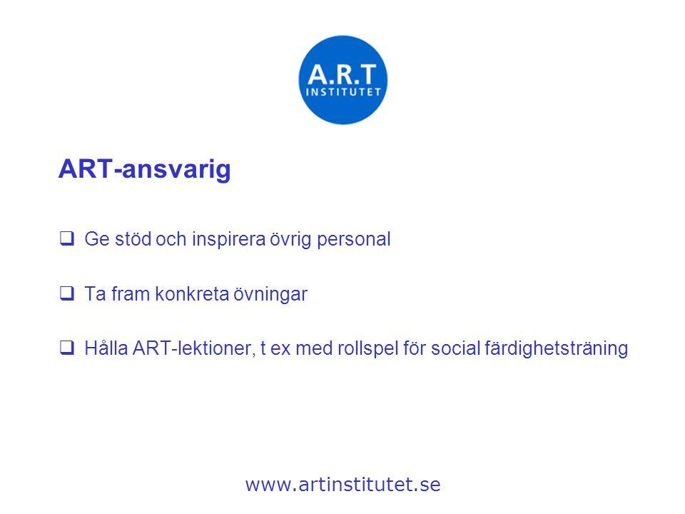 ART-ansvarig Ge stöd och inspirera övrig personal