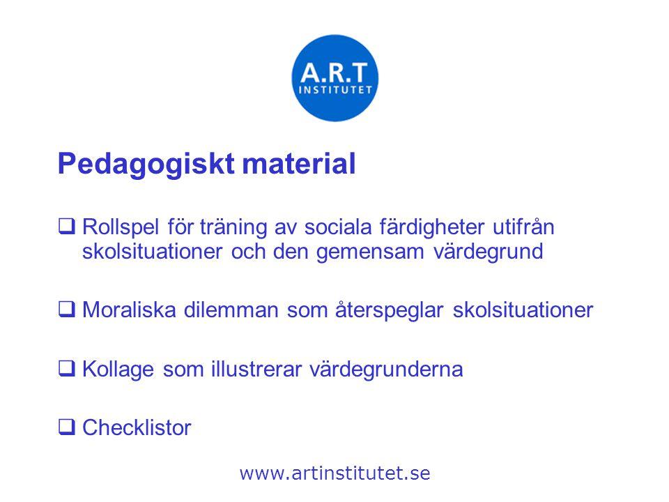 Pedagogiskt material Rollspel för träning av sociala färdigheter utifrån skolsituationer och den gemensam värdegrund.