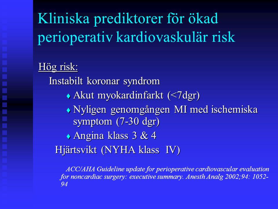 Kliniska prediktorer för ökad perioperativ kardiovaskulär risk