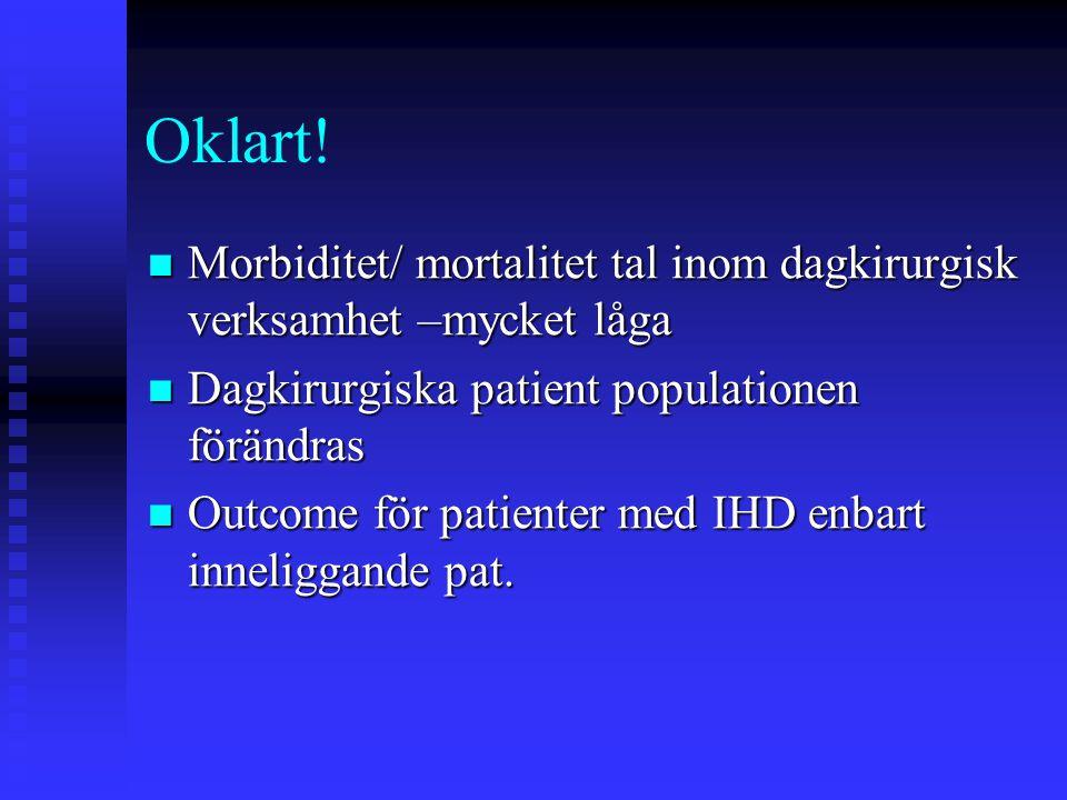 Oklart! Morbiditet/ mortalitet tal inom dagkirurgisk verksamhet –mycket låga. Dagkirurgiska patient populationen förändras.