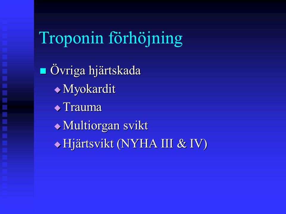 Troponin förhöjning Övriga hjärtskada Myokardit Trauma