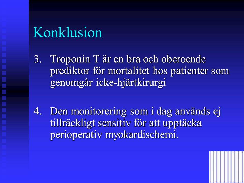 Konklusion 3. Troponin T är en bra och oberoende prediktor för mortalitet hos patienter som genomgår icke-hjärtkirurgi.