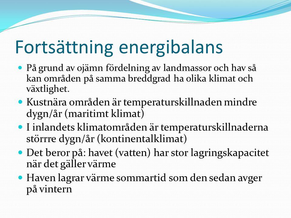 Fortsättning energibalans