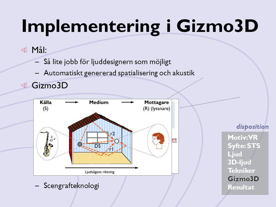 Implementering i Gizmo3D