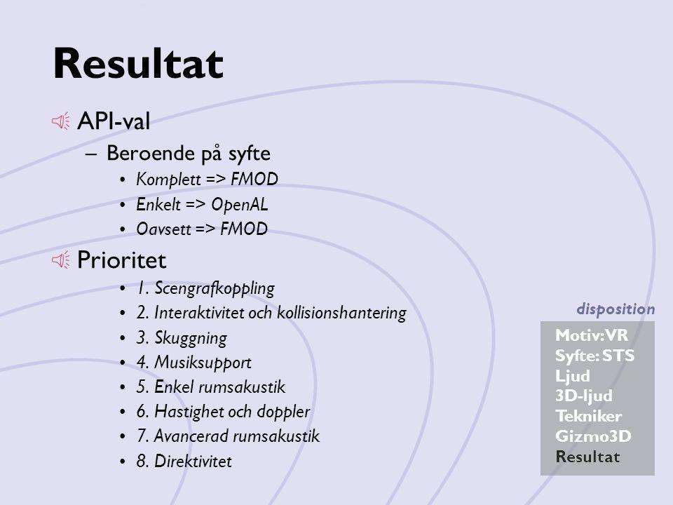 Resultat API-val Prioritet Beroende på syfte Komplett => FMOD