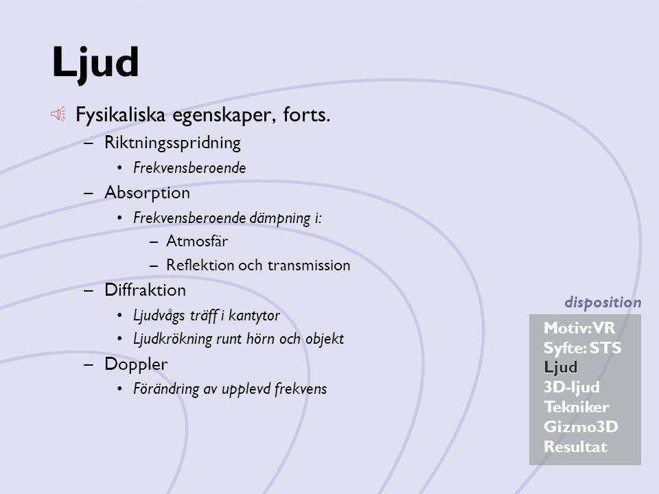 Ljud Fysikaliska egenskaper, forts. Riktningsspridning Absorption