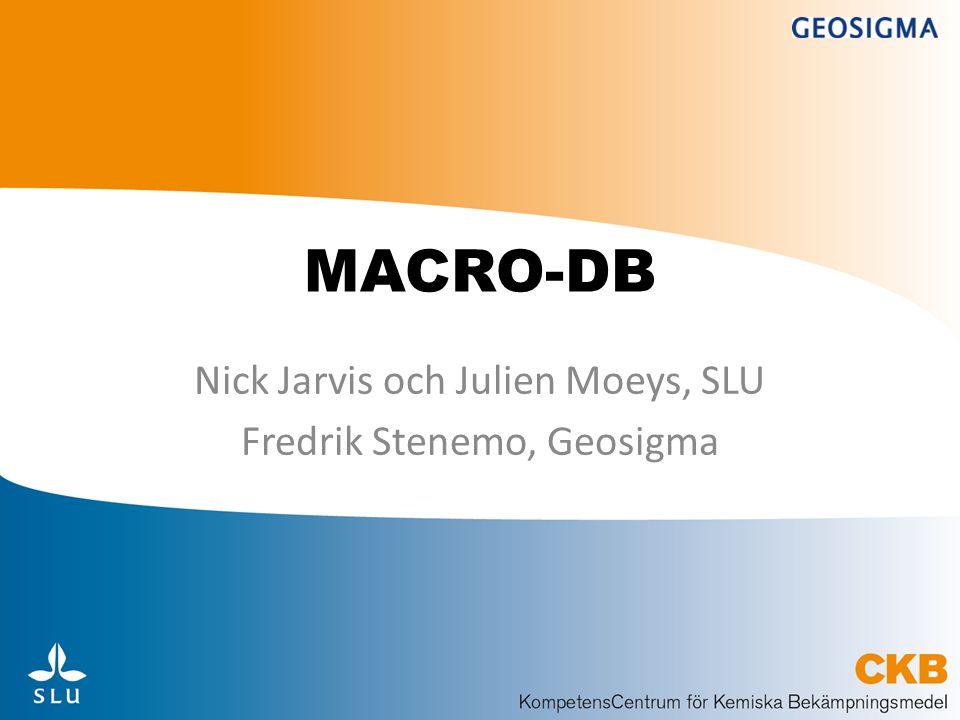 Nick Jarvis och Julien Moeys, SLU Fredrik Stenemo, Geosigma