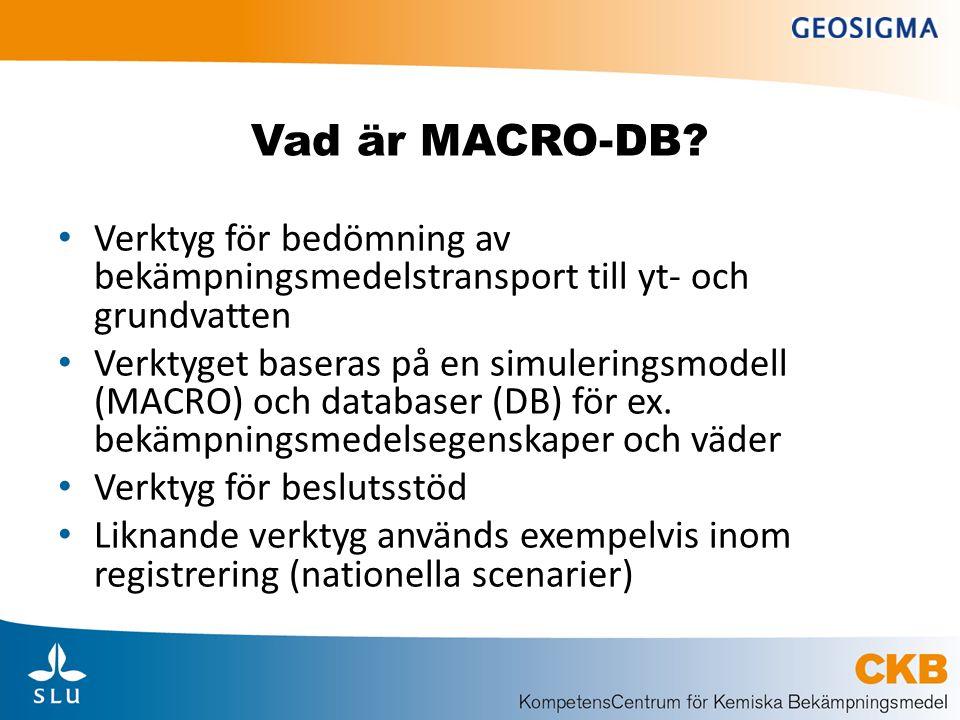 Vad är MACRO-DB Verktyg för bedömning av bekämpningsmedelstransport till yt- och grundvatten.