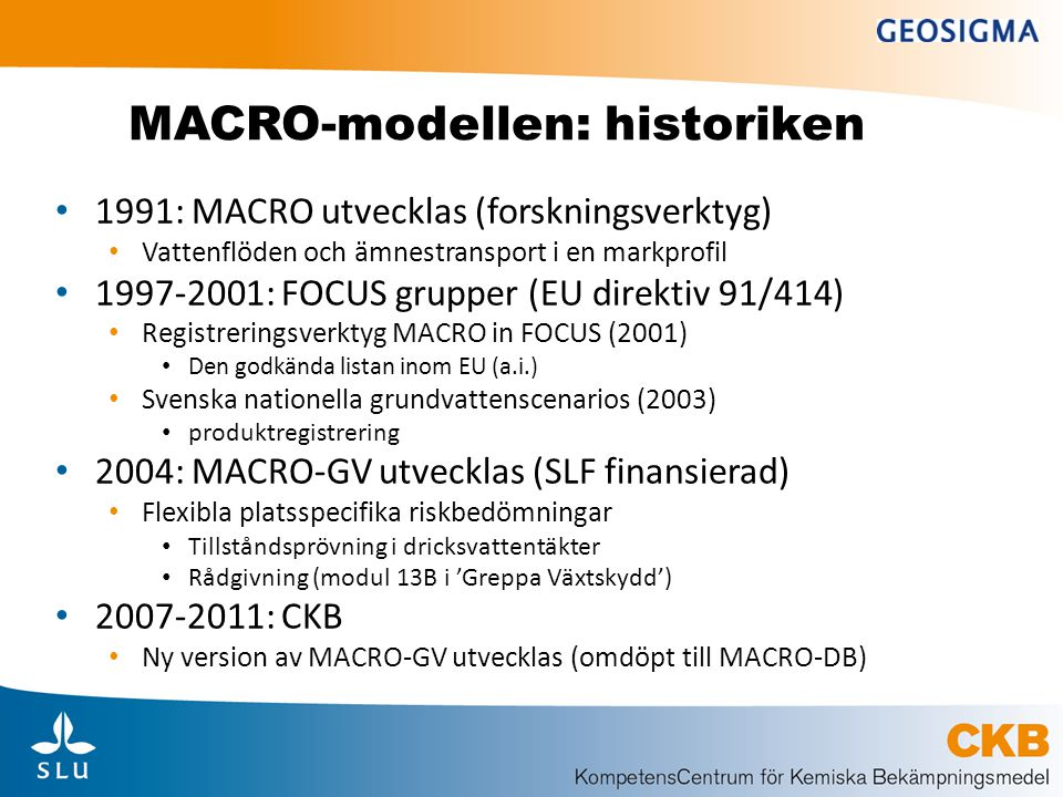 MACRO-modellen: historiken