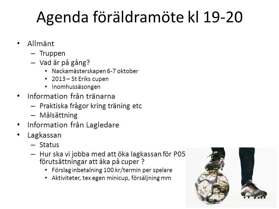 Agenda föräldramöte kl 19-20