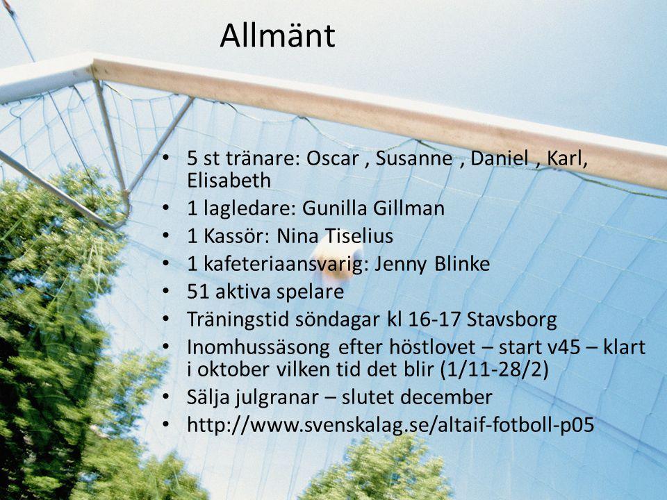 Allmänt 5 st tränare: Oscar , Susanne , Daniel , Karl, Elisabeth