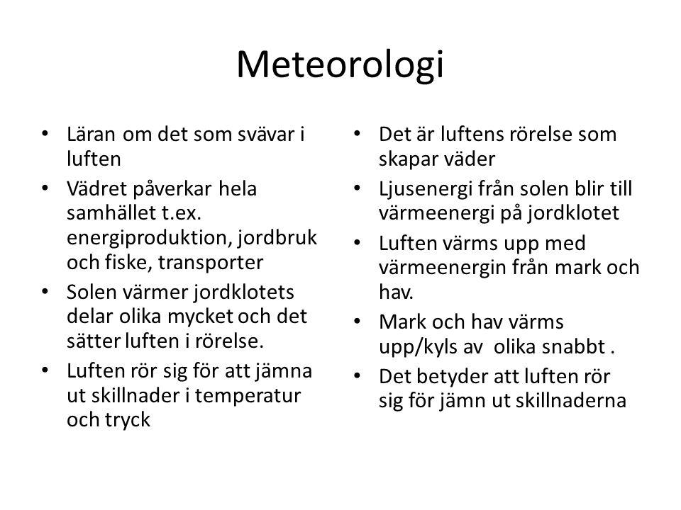Meteorologi Läran om det som svävar i luften