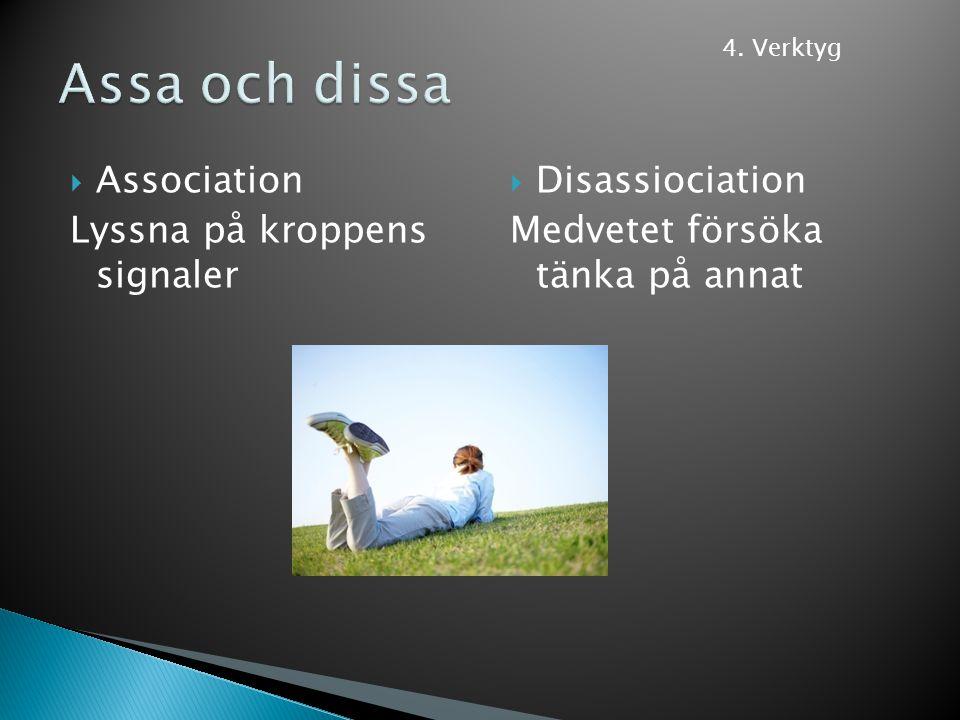 Assa och dissa Association Lyssna på kroppens signaler Disassiociation