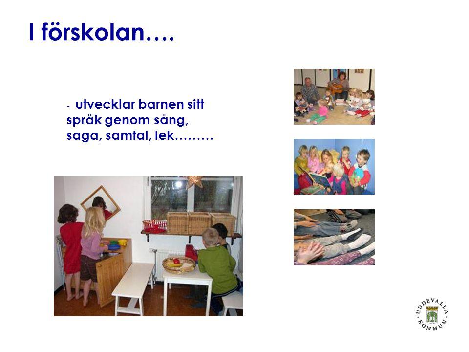 I förskolan…. - utvecklar barnen sitt språk genom sång, saga, samtal, lek………