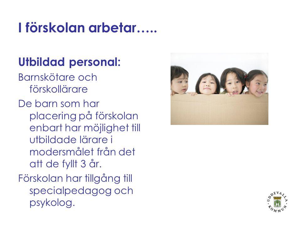 I förskolan arbetar….. Utbildad personal: