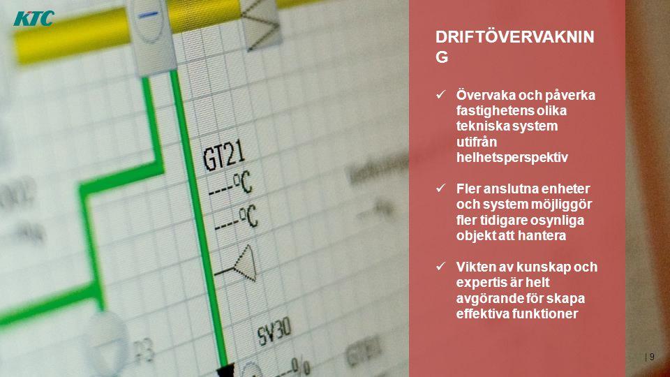 DRIFTÖVERVAKNING Övervaka och påverka fastighetens olika tekniska system utifrån helhetsperspektiv.