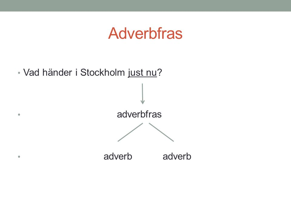 Adverbfras Vad händer i Stockholm just nu adverbfras adverb adverb