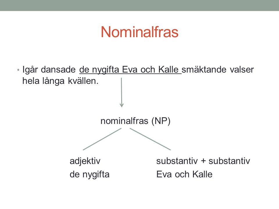 Nominalfras Igår dansade de nygifta Eva och Kalle smäktande valser hela långa kvällen. nominalfras (NP)