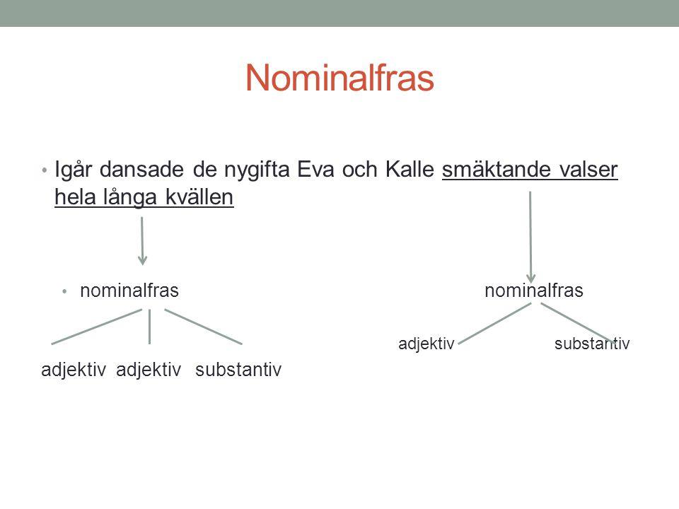 Nominalfras Igår dansade de nygifta Eva och Kalle smäktande valser hela långa kvällen. nominalfras nominalfras.